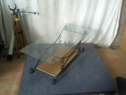 table basse fer verre